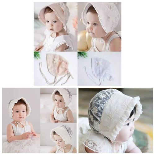 Foto Produk topi bayi perempuan bonnet noni - Putih dari BabyGwen