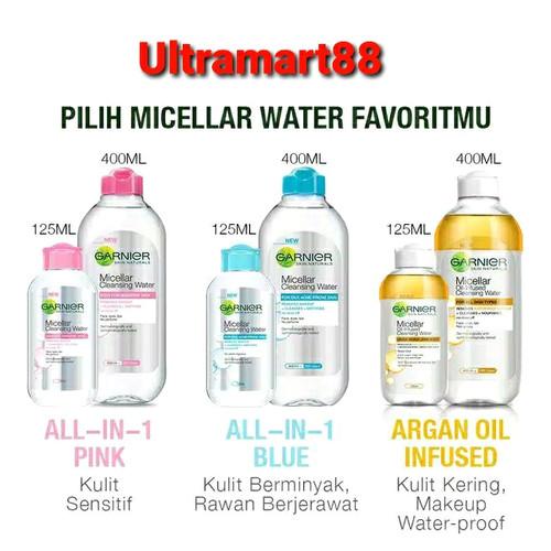 Foto Produk Garnier Micellar Water Pink Blue kuning Bipase Oil 400 ml 125 ml - Pink 125ml dari Ultramart88