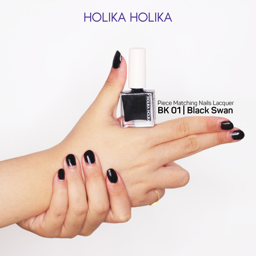 Foto Produk Holika Holika Piece Matching Nails Lacquer - BK01 Black Swan dari Holika Holika Indonesia