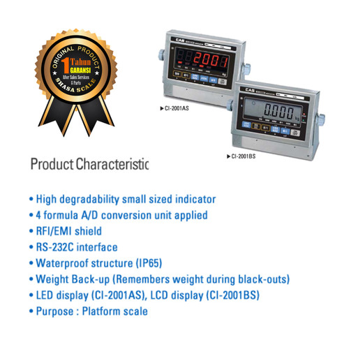 Foto Produk Indicator Timbangan Digital CAS CI-2001AS dari Shasa Scale