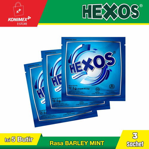 Foto Produk HEXOS Barley Permen pelega tenggorokan 3 sachet Permen Mint dari Konimex Store