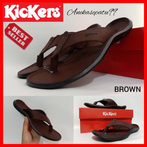 Foto Produk Sendal Kickers Pria - Sandal Jepit Kickers Kulit Asli - Cokelat, 39 dari aneka sepatu99