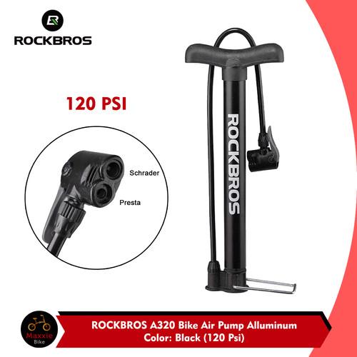 Foto Produk Pompa Sepeda ROCKBROS A320 – 120 Psi Bicycle Pump Presta, Schrader dari Maxxiebike