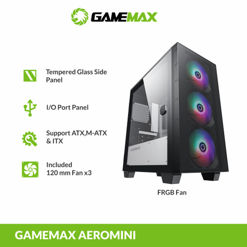 Foto Produk GAMEMAX Aero Mini FRGB Micro ATX Gaming PC Case dari Gamemax Official Store