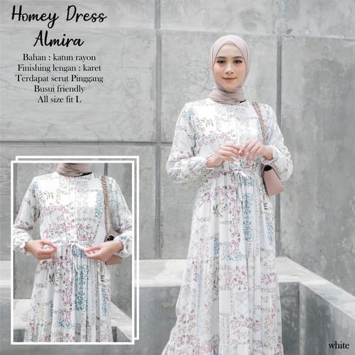 Foto Produk Homey Dress Almira - Bahan Katun Rayon Premium - Gamis Motif Dewasa - WHITE dari Dianhijabsurabaya