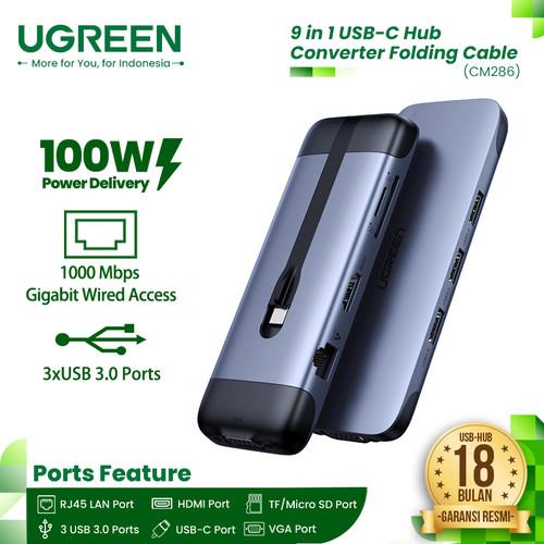Foto Produk UGREEN 9-in-1 USB C To HDMI, VGA, Ethernet, USB-A, SD/MicroSD [70409] dari UGREEN Authorized Store