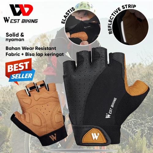 Foto Produk Sarung Tangan Sepeda Bicycle Gloves West Biking Half Gloves Outdoor - Cokelat, M dari West Biking Indonesia