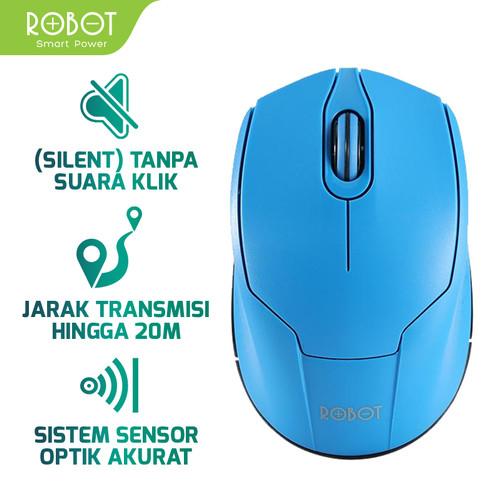 Foto Produk ROBOT M310 Wireless 2.4 GHz Optical Mouse Garansi Resmi 1 Tahun - Biru dari ROBOT OFFICIAL SHOP