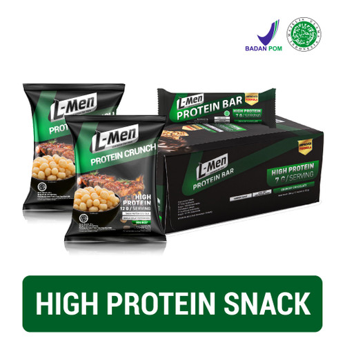 Foto Produk L-Men Protein Bar Chocolate 12 Sch + L-Men Protein Crunch BBQ x 2 dari NutriMart