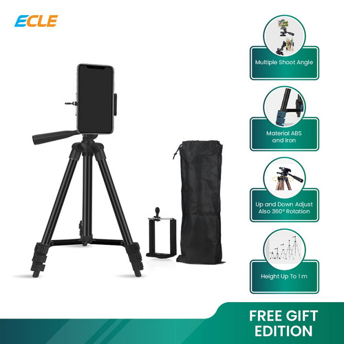Foto Produk ECLE Tripod HP Camera Extendable Portable Stand + Phone Holder - Black dari ECLE Official Store