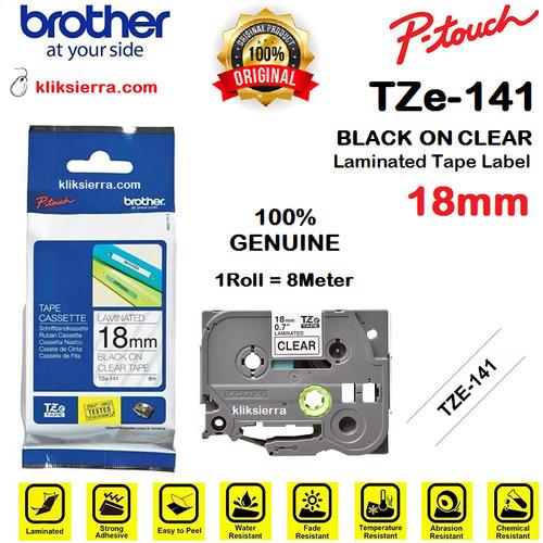 Foto Produk BROTHER TZe-141 18mm PTouch Tape Label Barcode TZe141 Black on Clear dari kliksierra