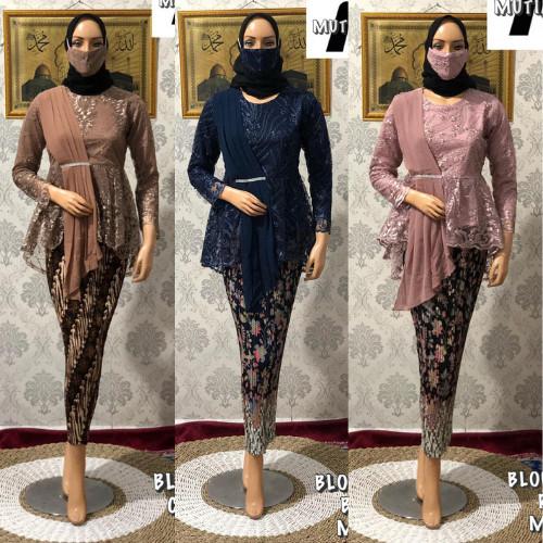 Foto Produk FREE MASKER!! Setelan Kebaya Tulle Modern Bordir Amalia Rok Batik - ATASAN KEBAYA dari Aneka Butik Fashion