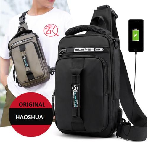 Foto Produk TS155 Tas Selempang Casual Multifungsi Original Haoshuai Waterproff - black dari EnnWen Online Store