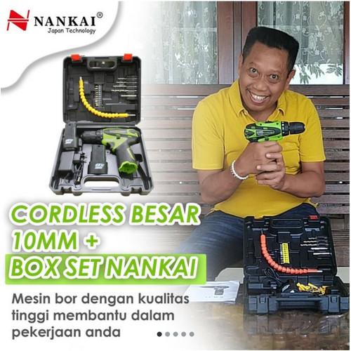 Foto Produk NANKAI 2 BATERAI Cordless Drill bor baterai 12 V ryu charger kenmaster dari TOKO BESI TIMUR JAYA
