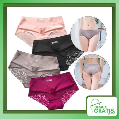 Foto Produk Semua Gratis - Celana Dalam Renda Brief Seamless Ice Silk / CD Wanita - Hitam, M dari Semua Gratis