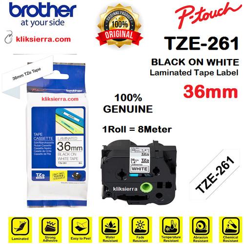 Foto Produk BROTHER TZe-261 36mm PTouch Tape Label Barcode TZe261 Black on White dari kliksierra