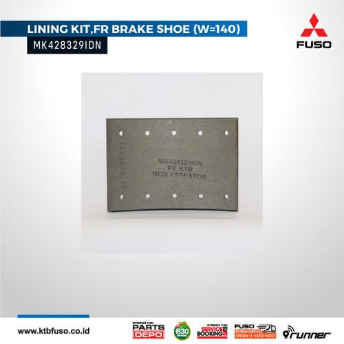 Foto Produk MK428329IDN Brake Lining FR (W=140) / Kampas Rem Depan Fuso FM517 dari FUSOBERLIANMAJUMOTOR
