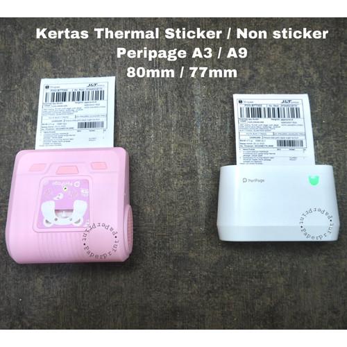 Foto Produk KERTAS THERMAL STICKER A3 A6 A9 Peripage Paperang P1 P2S C1 - A9 (77x30), Sticker dari posh8
