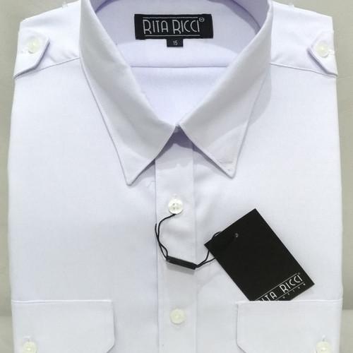 Foto Produk Kemeja Pria Rita Ricci Putih Cerah Pilot Pendek Oxford Kantong Dua - Putih, M dari Mega Hero Shirts
