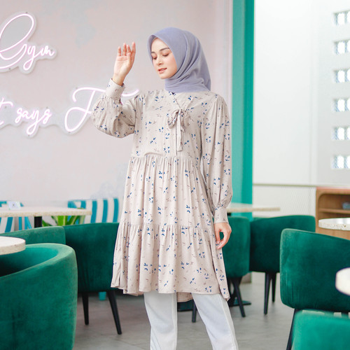 Foto Produk Jasmine Hanbok Floral Tunik / Tunic / Mididress - Mocca, L-XL dari sheenofficial