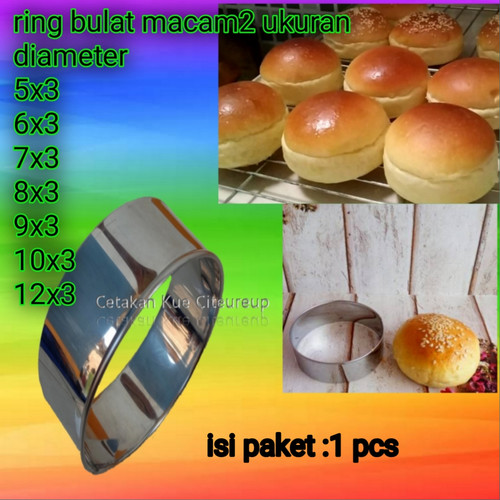 Foto Produk cetakan burger/cetakan roti /ring cutter motip bulat 5x3-12x3 . 1pcs - 5x3 dari Cetakan kue citeureup