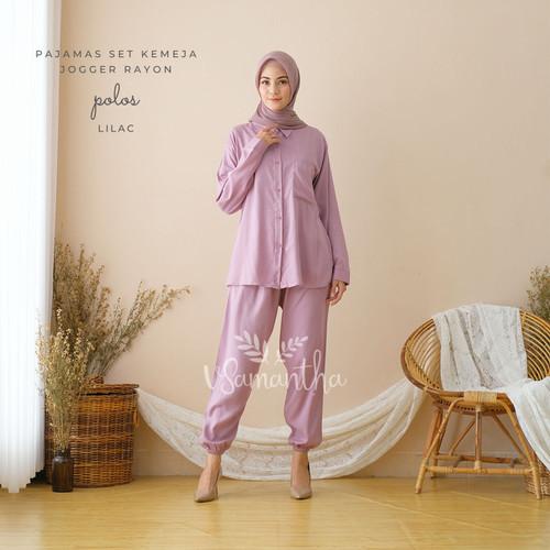 Foto Produk vSamantha - Pajamas Set Kemeja Jogger Rayon Polos - Lilac dari vSamantha