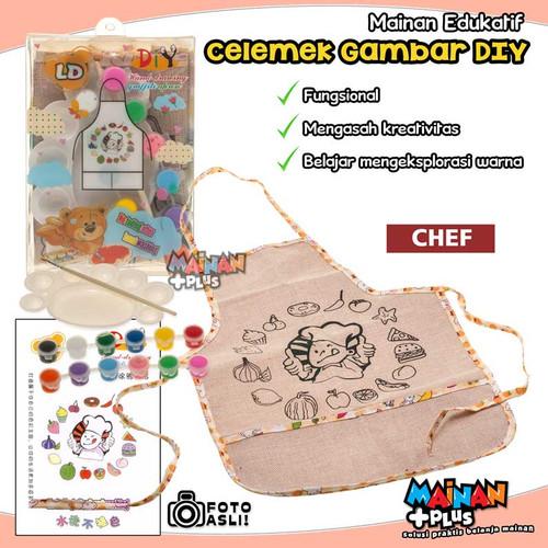 Foto Produk MAINAN EDUKASI MEWARNAI MELUKIS CELEMEK APRON MASAK MASAKAN DIY - Chef dari MainanPlus