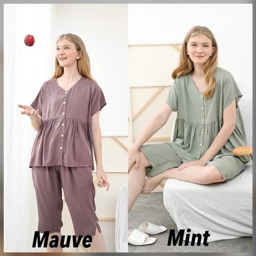 Foto Produk Runa Set Premium Basic - Sleepwear / Piyama Baju Tidur Rayon by RAHA - Mint dari Raha Sleepwear