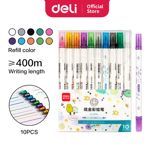 Foto Produk Deli Felt Pen Spidol 2 Ujung 10 Warna Metalic 70704 dari Deli Stationery