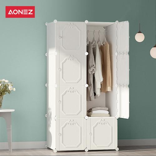 Foto Produk Aonez lemari pakaian plastik putih 8 muka 5 slot 1 gantungan baju - Putih, All Size dari AONEZ Official Store