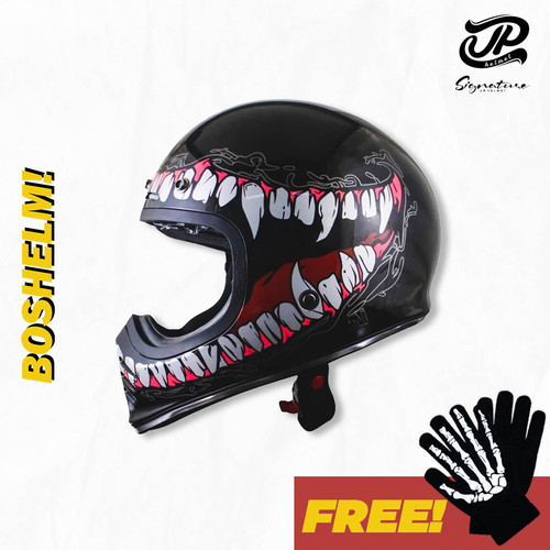 Foto Produk Helm Cakil JP Signature SGN-06 Monster Hitam Glossy Helm Full Face - Hitam dari BOSHELM