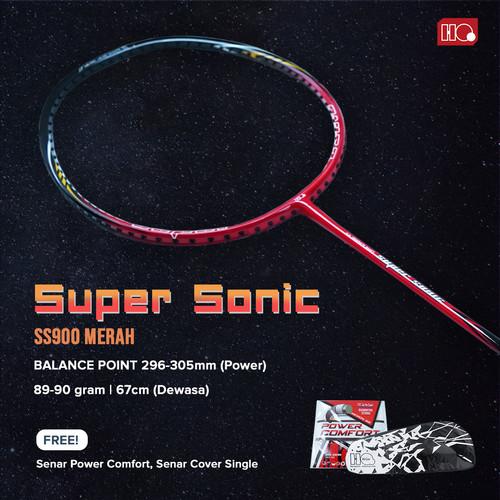 Foto Produk Hi-Qua Raket Badminton Super Sonic Full Carbon Free Tas dan Senar - Merah dari Hi-Qua Original Shop