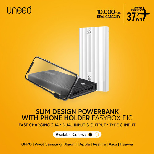 Foto Produk UNEED Powerbank 10000mAh with Holder Fast Charging 2.1A - UPB415 - Hitam dari Uneed Indonesia