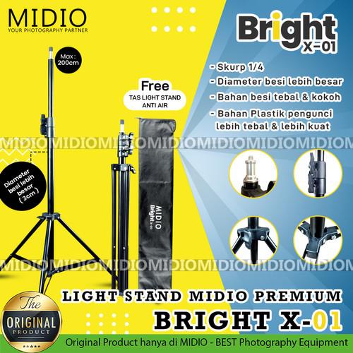 Foto Produk Light Stand Midio PREMIUM BRIGHT X-01 Foto Studio Plus Tas Anti Air dari Midio