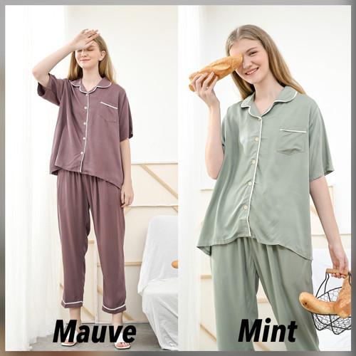 Foto Produk Alice Set Premium Basic - Sleepwear / Piyama Baju Tidur Rayon by RAHA - Mauve dari Raha Sleepwear