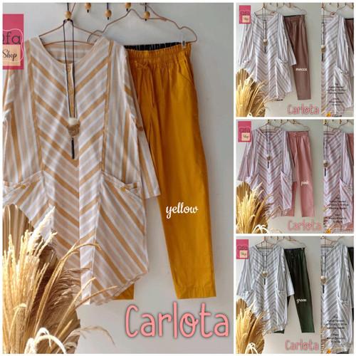 Foto Produk New Carlota Set Setelan Celana Wanita Baju Kerja Modis Motif Salur dari Ilyassa Shop