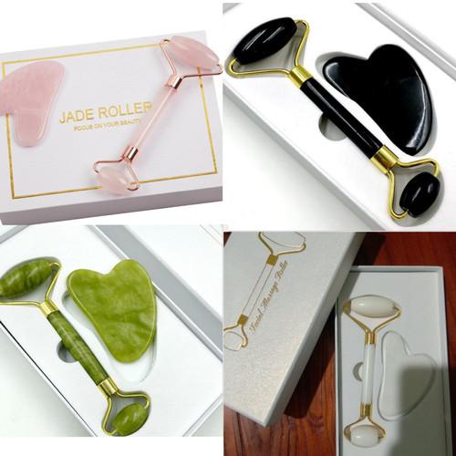 Foto Produk Jade Roller dan Guasha Facial Massage Roller Giok Alam - Hijau dari Newgate Limited