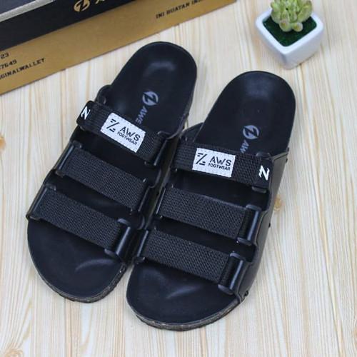 Foto Produk sandal pria/ sandal casual/ sandal slop/ sandal distro - Hitam, 39 dari zawsfootwear