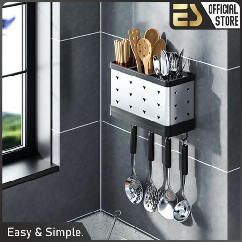 Foto Produk ES Tempat Sendok dan peralatan makan Rak Sendok Gantung Stainless dari ES Official Store