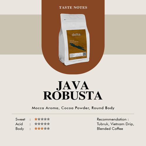 Foto Produk Java Robusta ( Java Mocha ) Biji Sangrai 200gr - biji dari Taman Delta Coffee Roastery (Supplier Kopi)