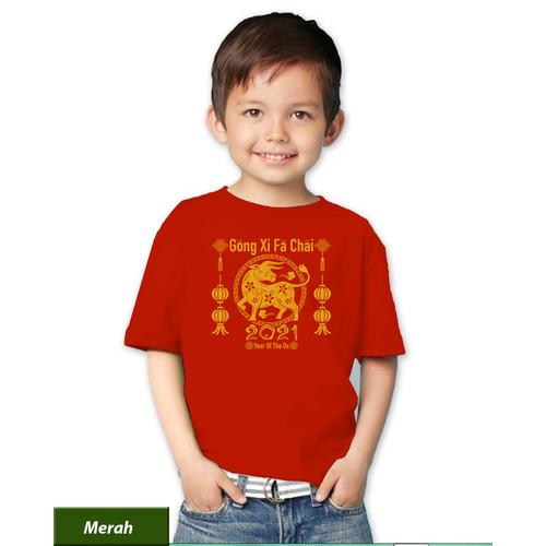 Foto Produk Kaos anak imlek 2021 tahun baru cina 2572 baju shio kerbau logam - Merah, 0 dari Listons-cloth