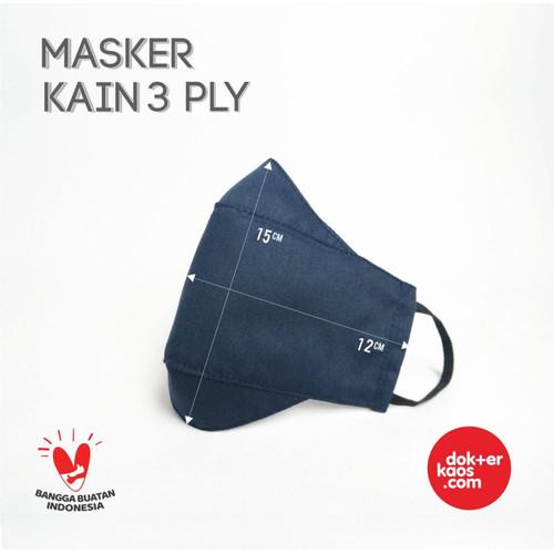 Foto Produk masker kain 3 lapis, model masker evo 3D, bisa sablon logo costum - Hitam dari Dokterkaos.Net