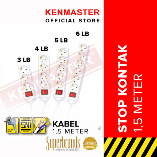 Foto Produk Kenmaster Stop Kontak 1 - 6 Lubang F1 - 1,5 Meter - 3 Lubang dari Kenmaster Official