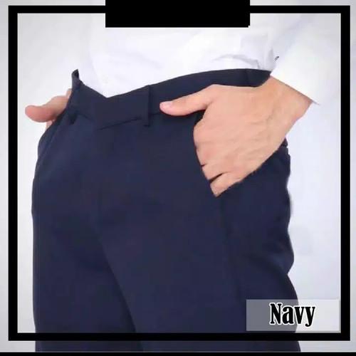 Foto Produk Celana Kantor Formal Kerja Bahan Dasar Pria Slimfit - Navy, 37/38 dari LYGAHOUSE