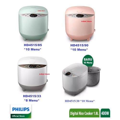 Foto Produk PHILIPS RICE COOKER HD4515 DIGITAL 1.8L PENANAK NASI HD 4515 - /33 Putih 8Menu dari amac store