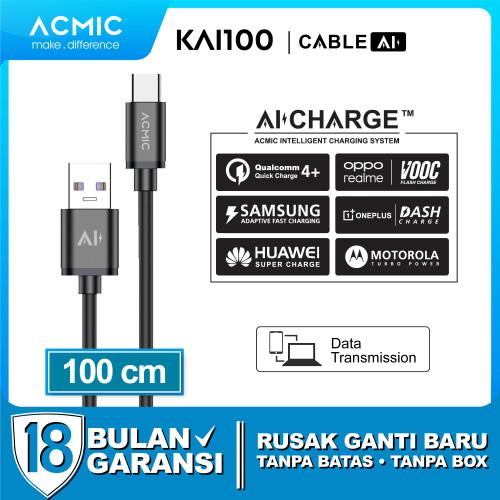 Foto Produk ACMIC KAi100 AiCharge Kabel Data USB Type C Fast Charging 3A + 5A VOOC dari ACMIC Official Store