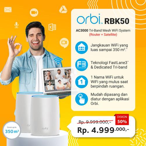 Foto Produk NETGEAR RBK50 Orbi Tri Band Mesh WiFi Router Value Pack dari Netgear Store