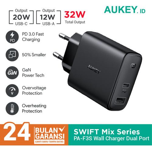 Foto Produk Charger Aukey PA-F3S Swift Mix 32W Power Delivery - 500708 dari Aukey Surabaya