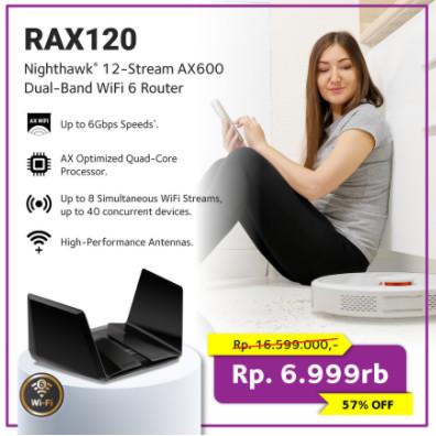 Foto Produk Netgear RAX120 Dual-Band AX12 Stream AX6000 WiFi 6 Router dari Netgear Store