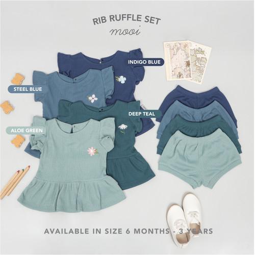 Foto Produk Mooi Setelan Anak Perempuan Rib Ruffle Set - 3 YEARS, DUSTY PINK dari Mooi Official
